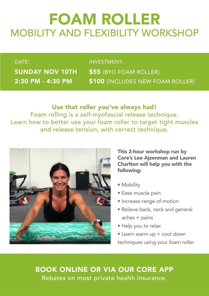 Core Physio mobility and flexibility workshop flyer