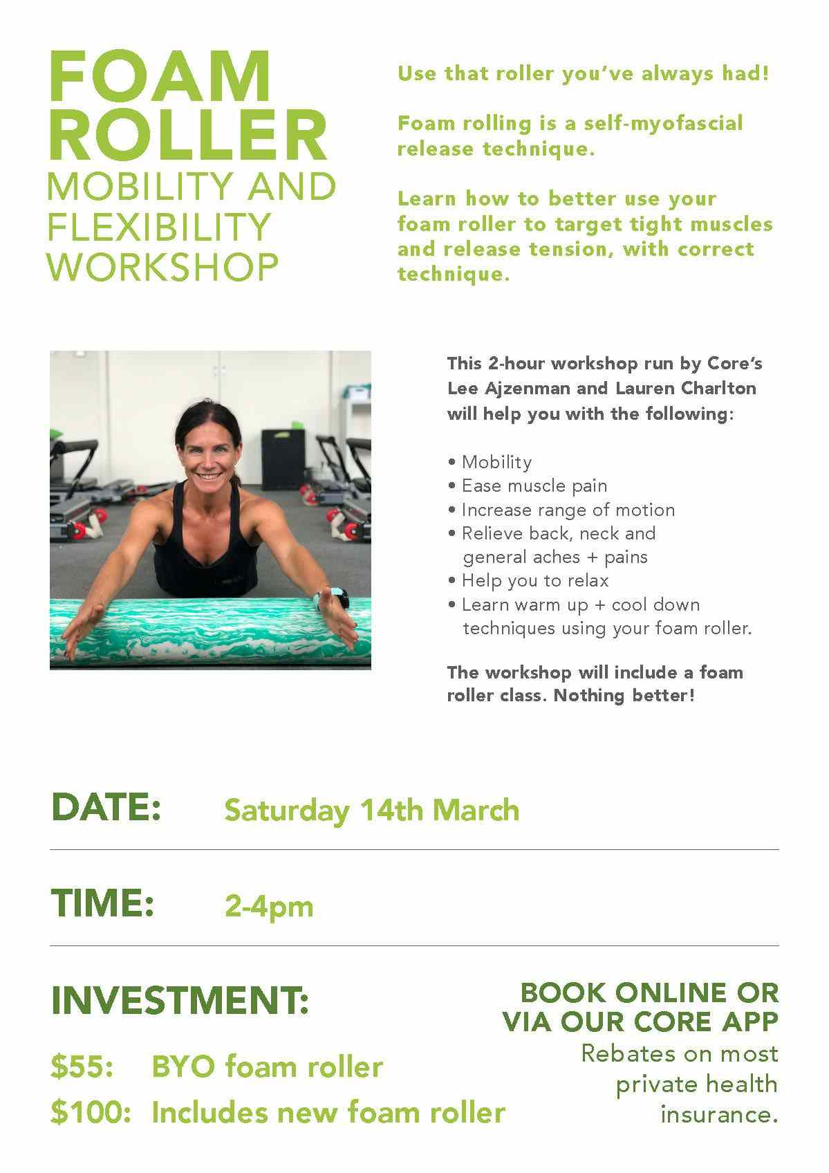 Foam roller mobility and flexibility workshop